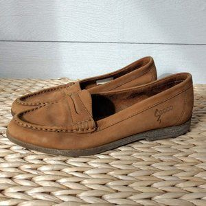 ECCO Camel Suede Flat Loafers Size 40